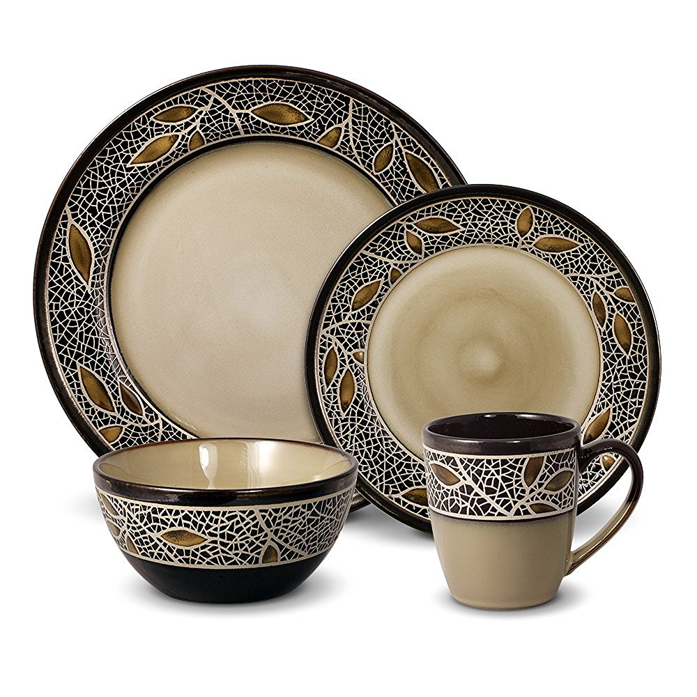 Mikasa Gourmet Basics Alexandria – Autumn Dinnerware Set with Reactive Glaze, Microwave and Dishwasher Safe