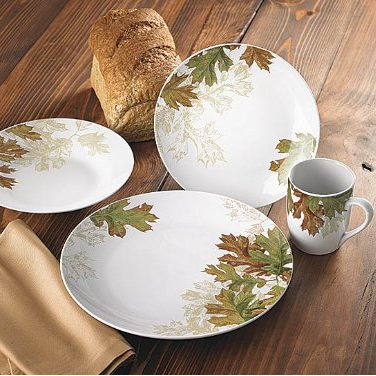Wild Wings Fall Leaves Dinnerware Set (Or Choose Pine Cones)
