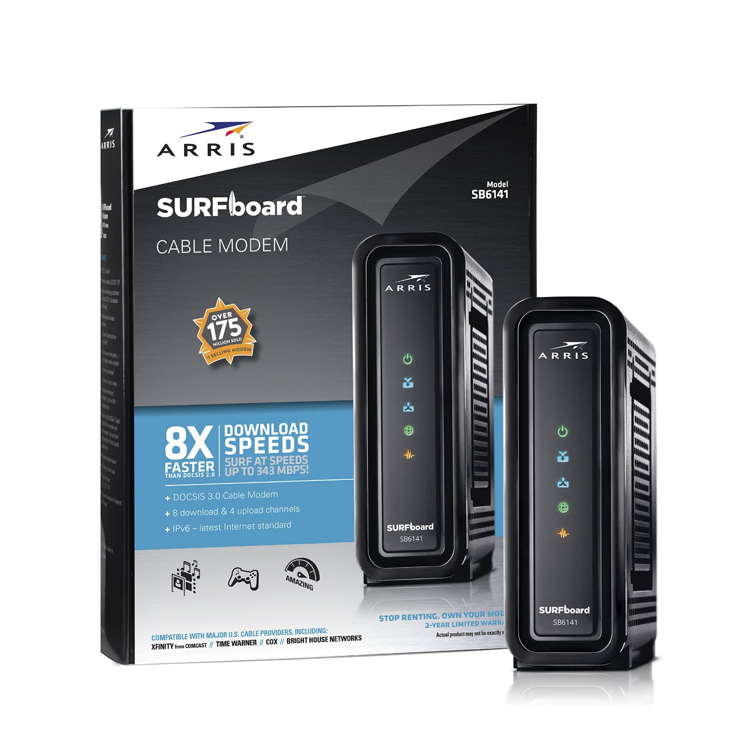 Arris SURFboard DOCSIS 3.0 eXtreme Cable Modem with Channel Bonding and Download Speed up to 343 Mbps - Available in Black or White