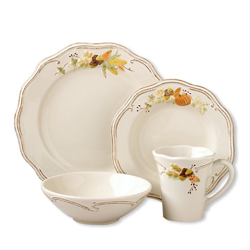 Platzgraff Plymouth Autumn Dinnerware Set for Thanksgiving — Microwave and Dishwasher Safe Stoneware