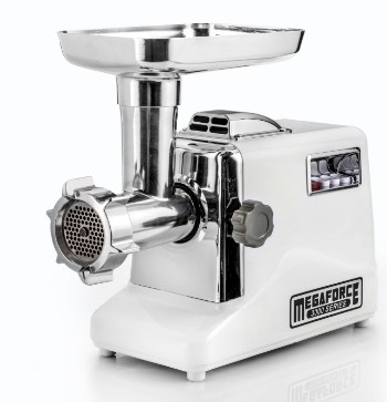 STX International Megaforce Electric Meat Grinder with 3 Cutting Blades, Grinding Plates and Sausage Stuffing Tubes - Available with Juicer, Foot Pedal or Both