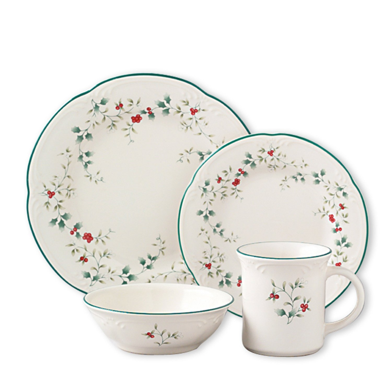 Pfaltzgraff Winterberry Dinnerware Set u2013 Microwave and Dishwasher Safe Stoneware Matching Serving Dishes Flatware  sc 1 st  TopProducts.com : christmas stoneware dinnerware sets - pezcame.com