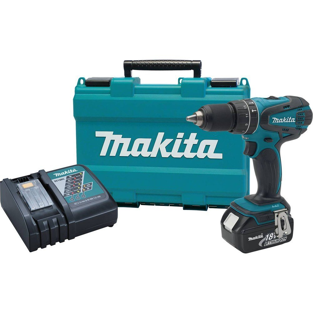 Makita 18V LXT Cordless Drill 1/2-Inch Hammer Driver with Lithium Ion Battery and 70-Piece Bit Set Bundle