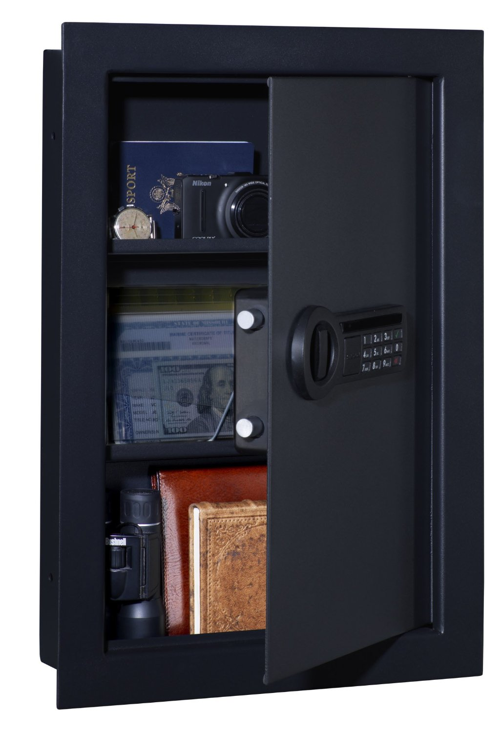 Stack-On Wall Safe with Electronic Lock Available in Two Colors (Black on Black, or Silver on Black)
