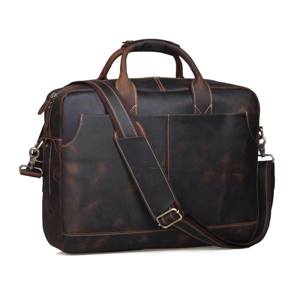 Texbo Genuine Leather Men's Messenger Tote Bag, Detachable Shoulder Strap – Available in 4 Colors