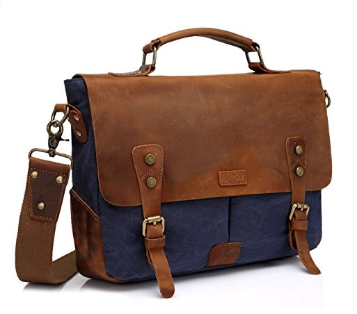 Vaschy Leather Canvas Messenger Bag