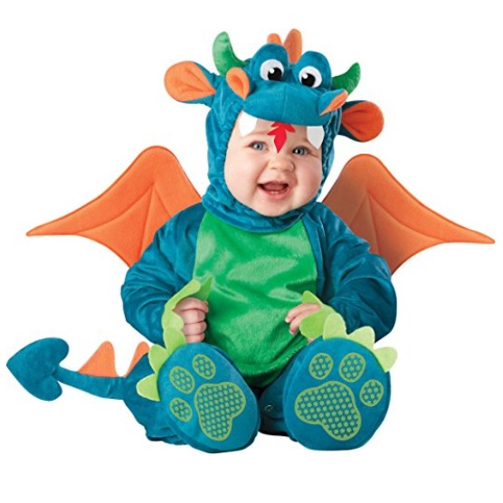 InCharacter Baby Dinky Dragon Costume with Leg Snaps for Easy Diaper Changing – Three Sizes Including Young Toddler