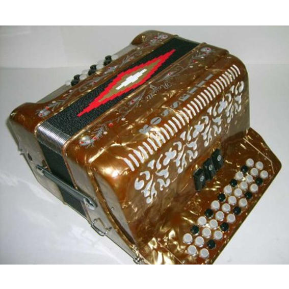 Rossetti Diatonic Button Accordion Gold with Italian Style Decorations