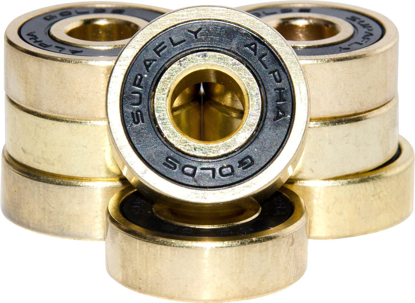 Pro Skateboard Bearings - Premium 608rs Titanium, Ultra-Smooth and Ultra-Fast Skateboard Bearings, Gold or Black