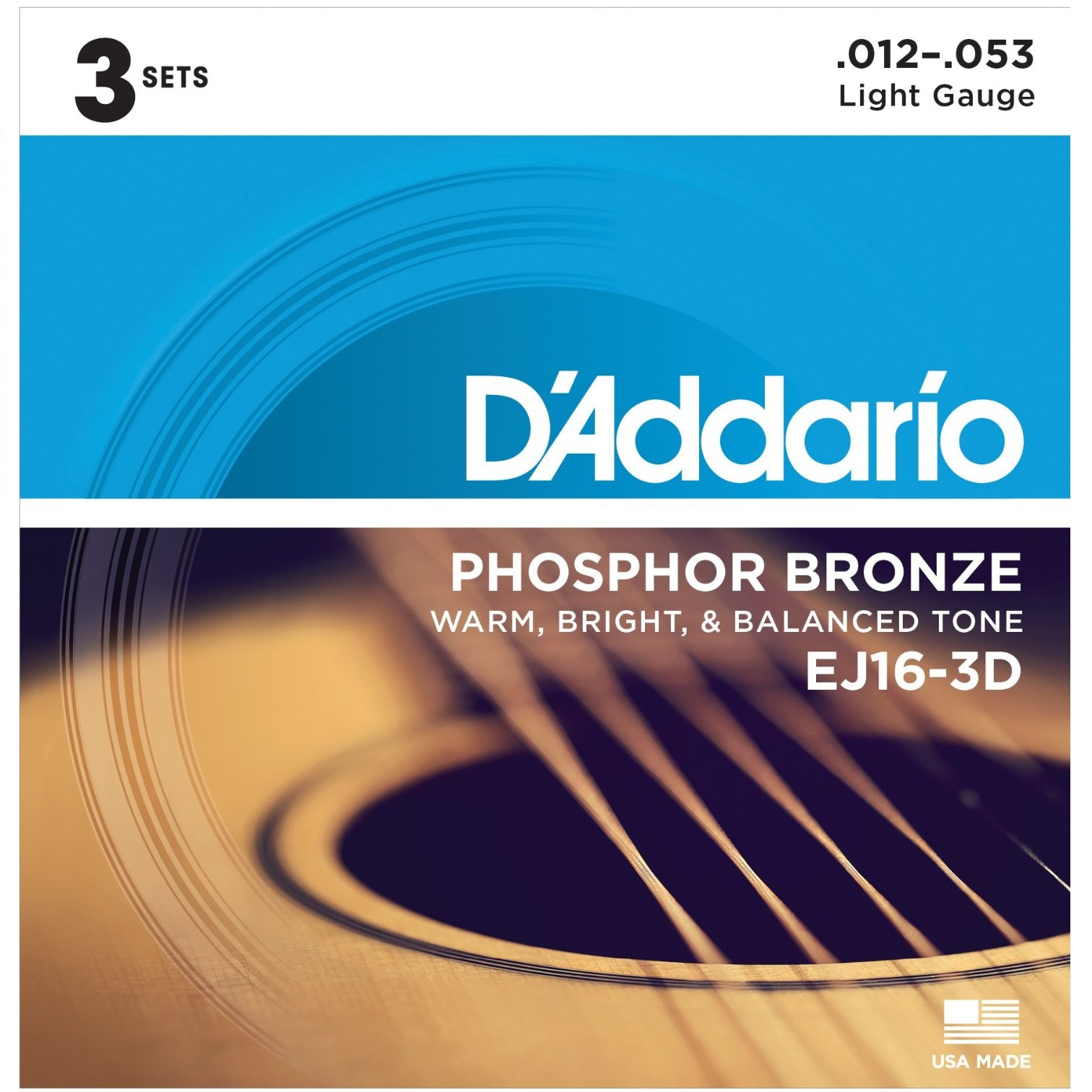 D'Addario Phosphor Bronze Acoustic Guitar Strings – Available in 10 Different Styles/Sizes