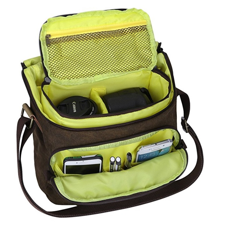 S-ZONE Waterproof Canvas and Leather Camera Messenger Bag