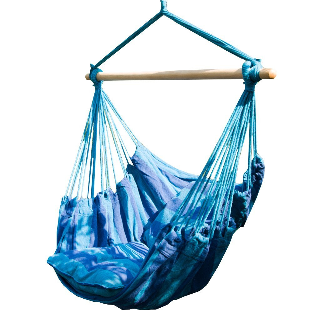 Caribbean Jumbo Hammocks Hanging Chair with Footrest  – 40 inch Spreader Bar, Soft-Spun Polyester, Available in 13 Colors