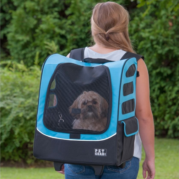 Pet Gear I-GO Plus 5-in-One Rolling Backpack for Dogs and Cats