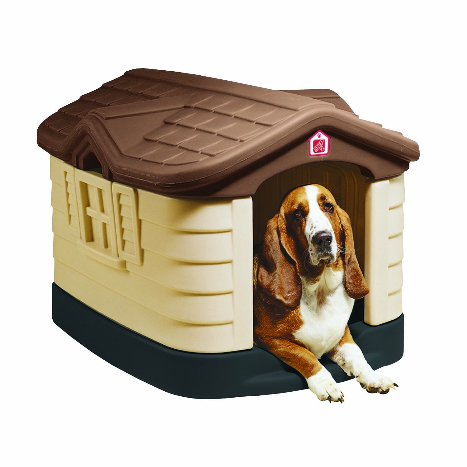 Pet Zone Step 2 Cozy Cottage Plastic Dog House With Double-Wall Insulation – Fits Dogs up to 75 lbs, Two Color Choices.