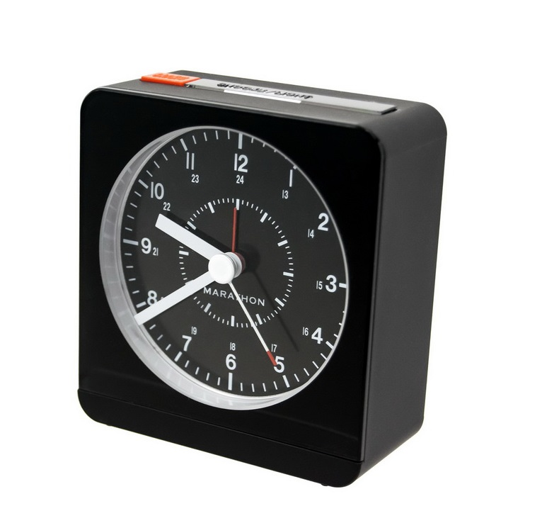 Marathon Analog Desk Alarm Clock with Auto-Night Light