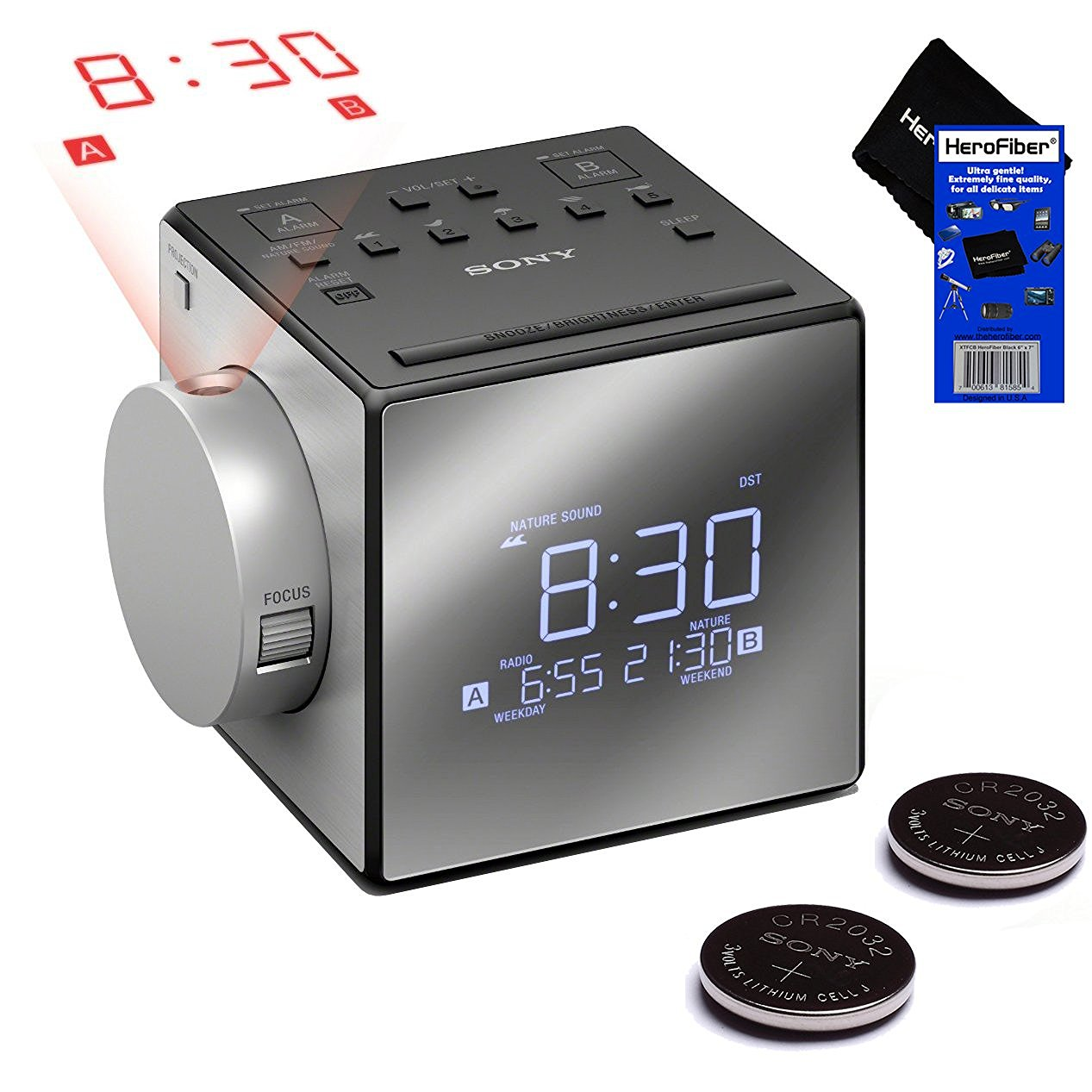Sony Radio Alarm Clock with Time Projector and Extendable Snooze