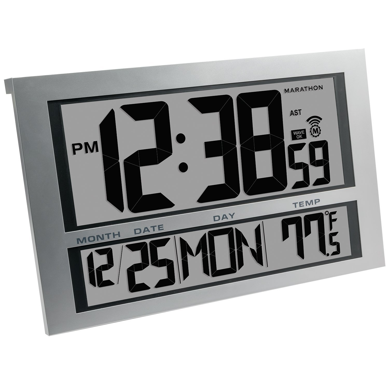 Marathon Jumbo Atomic Wall Clock with Indoor Temperature & Date, 6 Time Zones and Large LCD Display