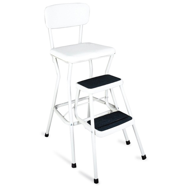 Cosco Retro White Step Stool Chair