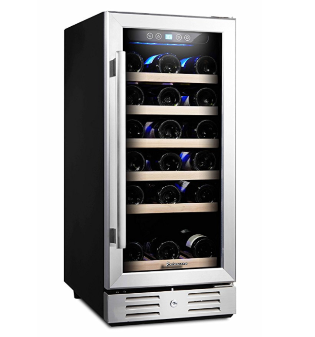 Kalamera 15-Inch 30 Bottle Built-in or Freestanding Wine Cooler - Stainless Steel and Double-Layer Tempered Glass Door