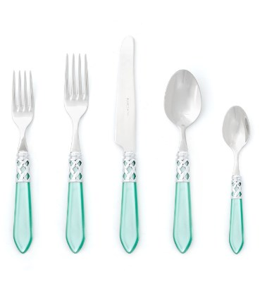 Vietri Aladdin Light Blue Brilliant Five Piece Flatware Set