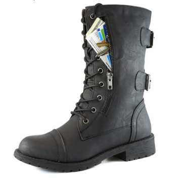 Daily Shoes Mid Knee Lace Up Combat Boots