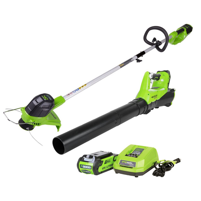 Greenworks G-MAX 40V Cordless String Trimmer and Leaf Blower Combo Pack - Includes 2.0Ah Battery and Charger