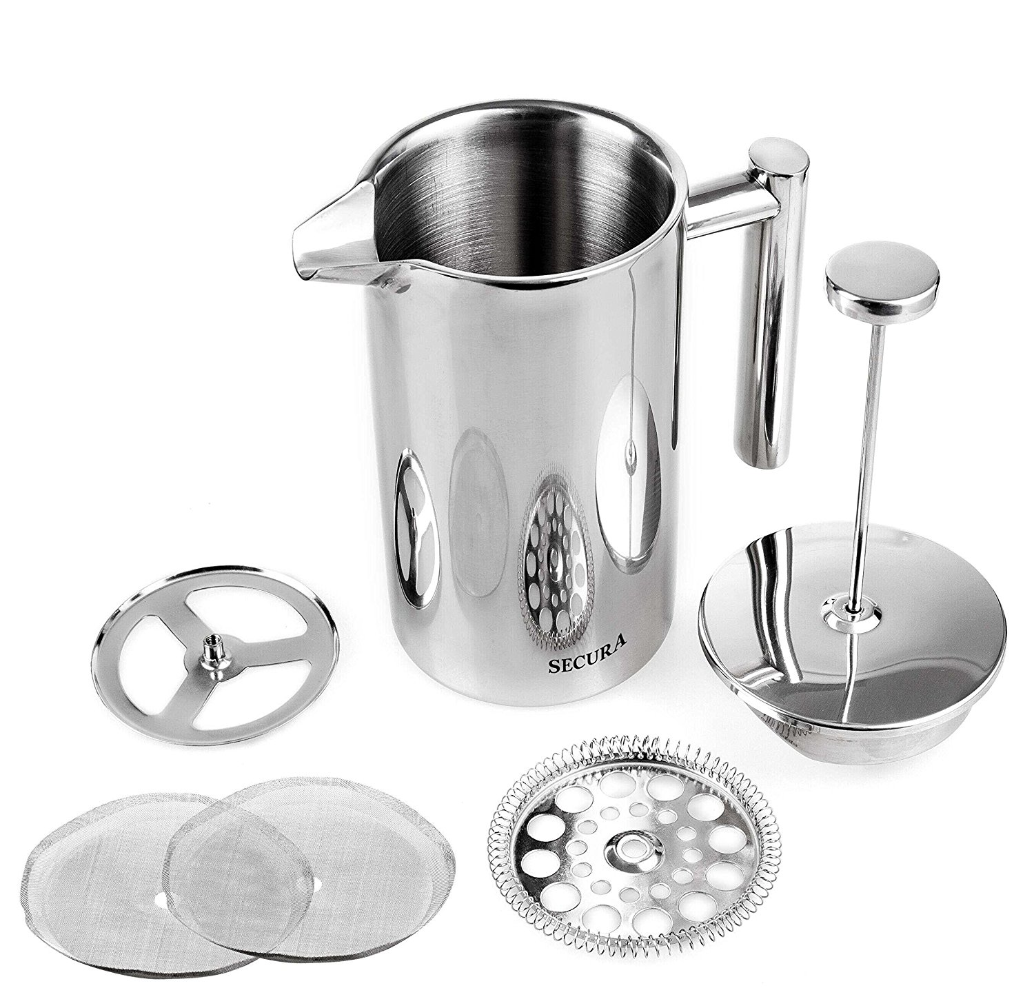 Secura SFP-34DS Stainless Steel French Coffee Press