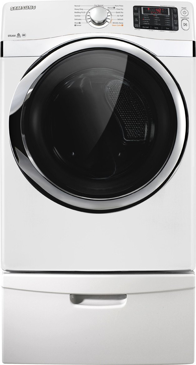 Samsung DV455EVGSWR 7.3 Cu. Ft. White Stackable With Steam Cycle Electric Dryer