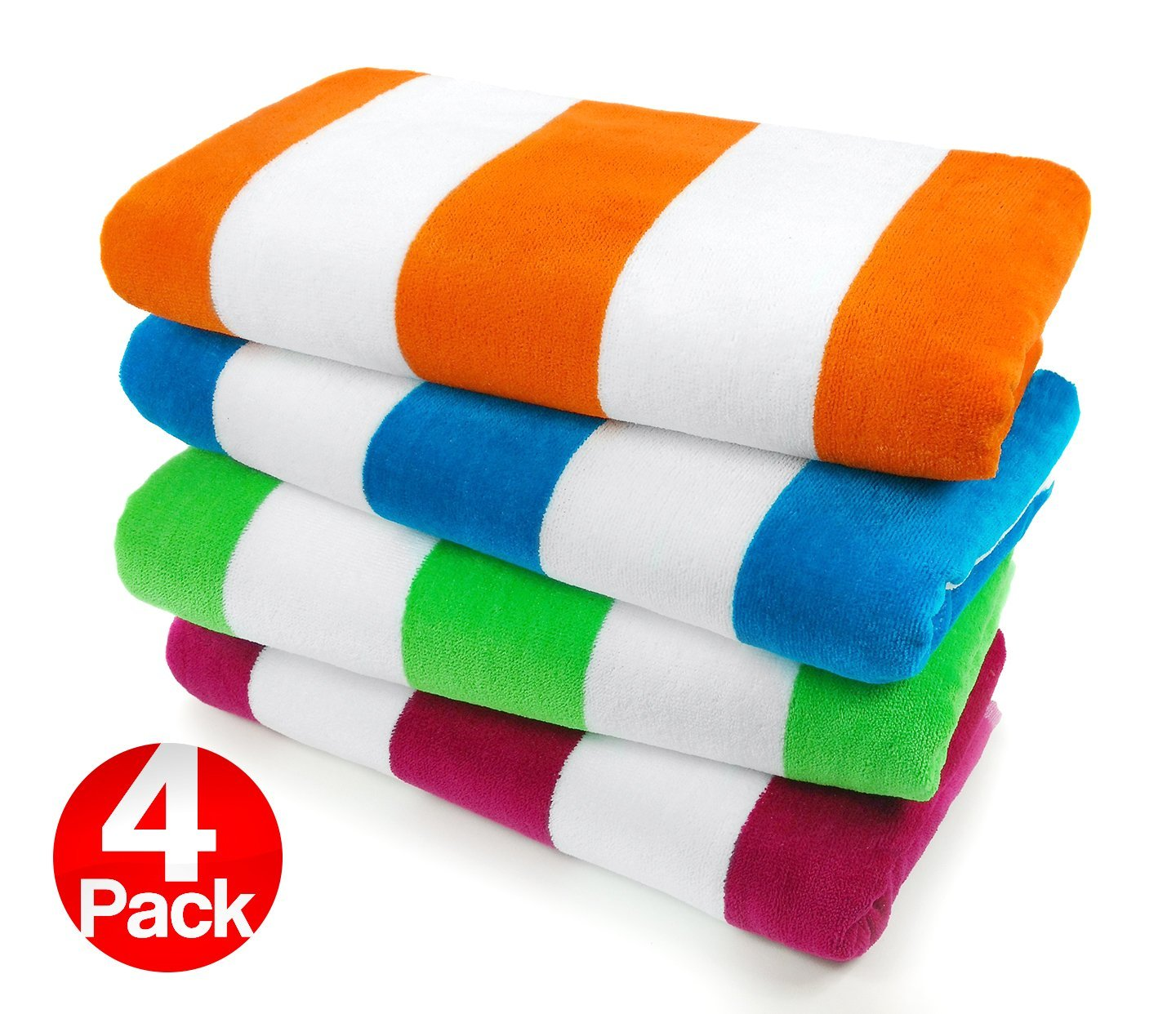 "Kaufman Velour Cabana Towels - 4 Pc Pack - 30"" X 60"""