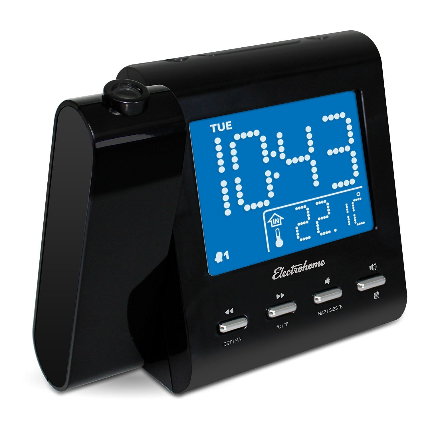 Electrohome EAAC601 Projection Alarm Clock with AM/FM Radio, Battery Backup Dual Alarm, Indoor Temperature/Day/Date Display, 3.5mm Audio Connection