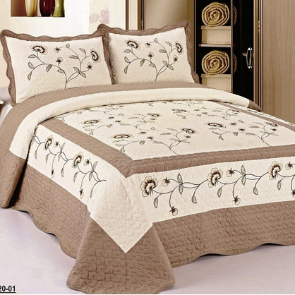 FineHome 3-Piece Fully Quilted Embroidery Bedspread