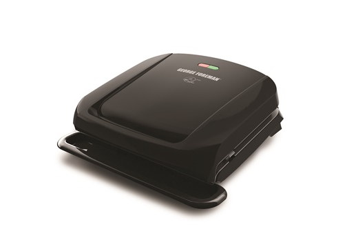 George Foreman Removable Plate Indoor Grill, 4 Serving, Adjustable Grill Cover, Black