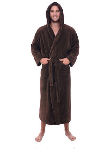 Del Rossa Men's Long Hooded Fleece Robe with Large Pockets - Available in 8 Colors