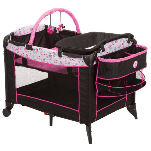 Disney Sweet Wonder Play Yard, Garden Delight Minnie With Newborn Bassinet And Deluxe Organizer – Two Color Options