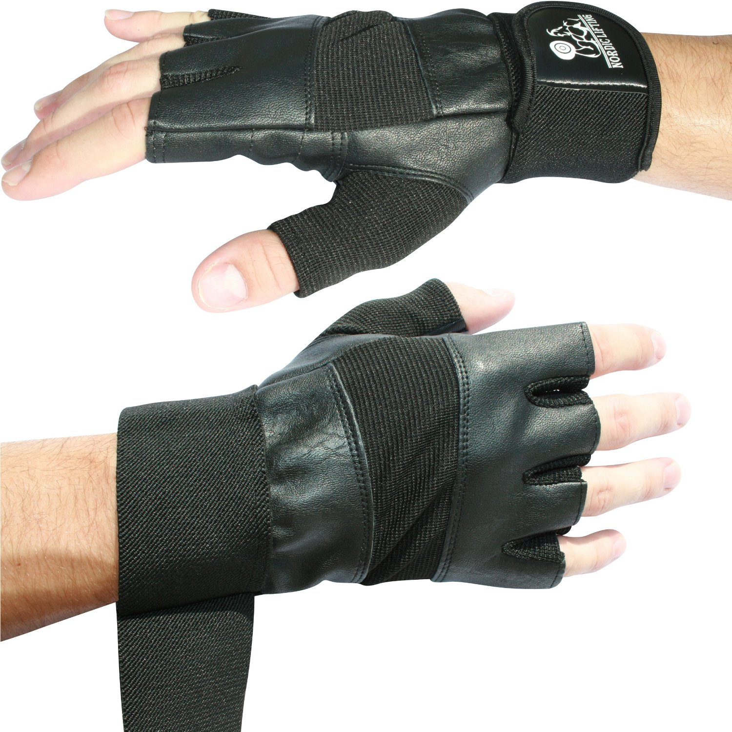 "Nordic Lifting Weight Lifting Gloves for Men and Women -12"" Wrist Wrap Support and 1 Year Warranty, Available in 5 Sizes"