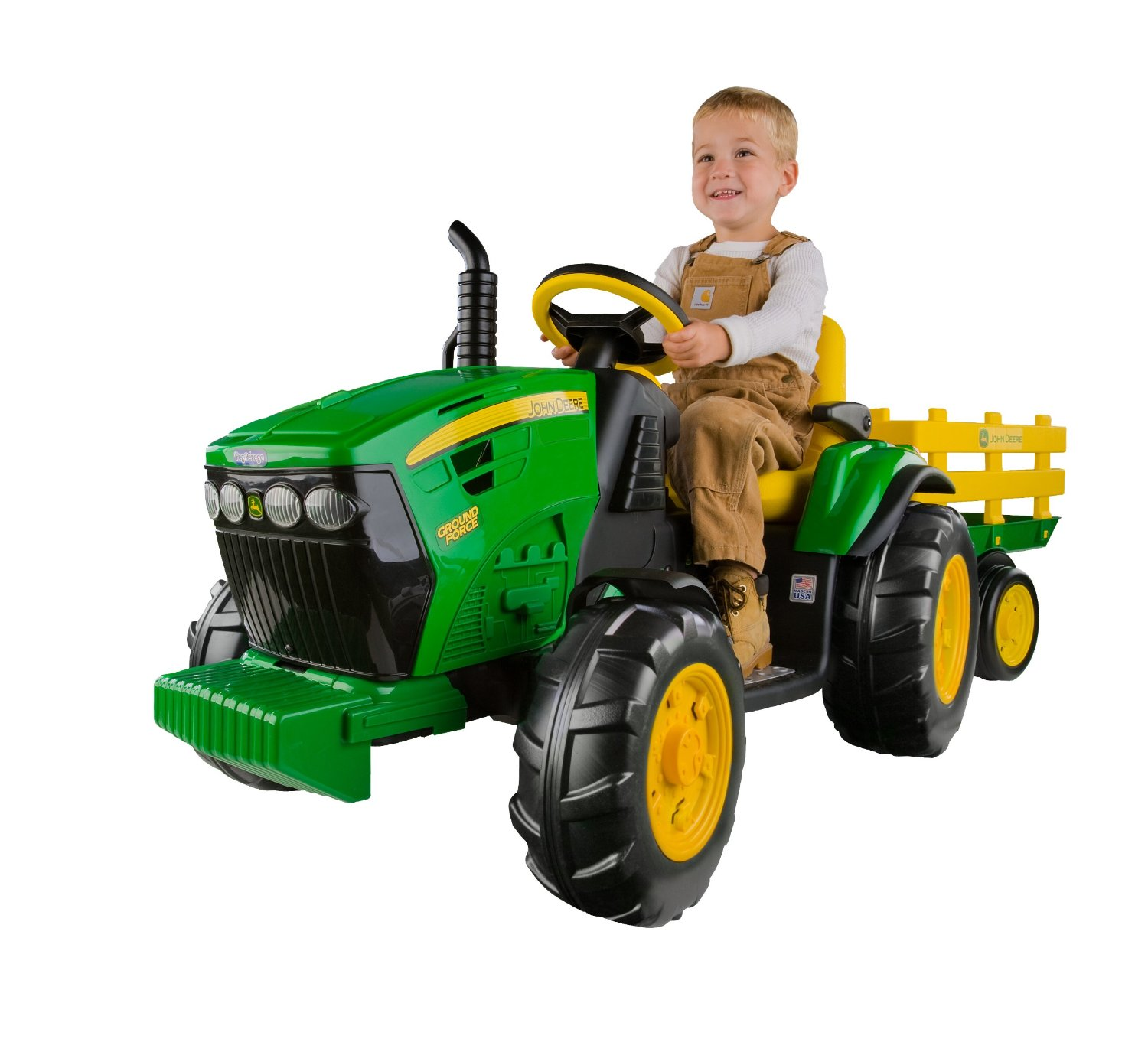 Peg Perego John Deere Ground Force Tractor Ride On with Trailer, FM radio and Adjustable Seat