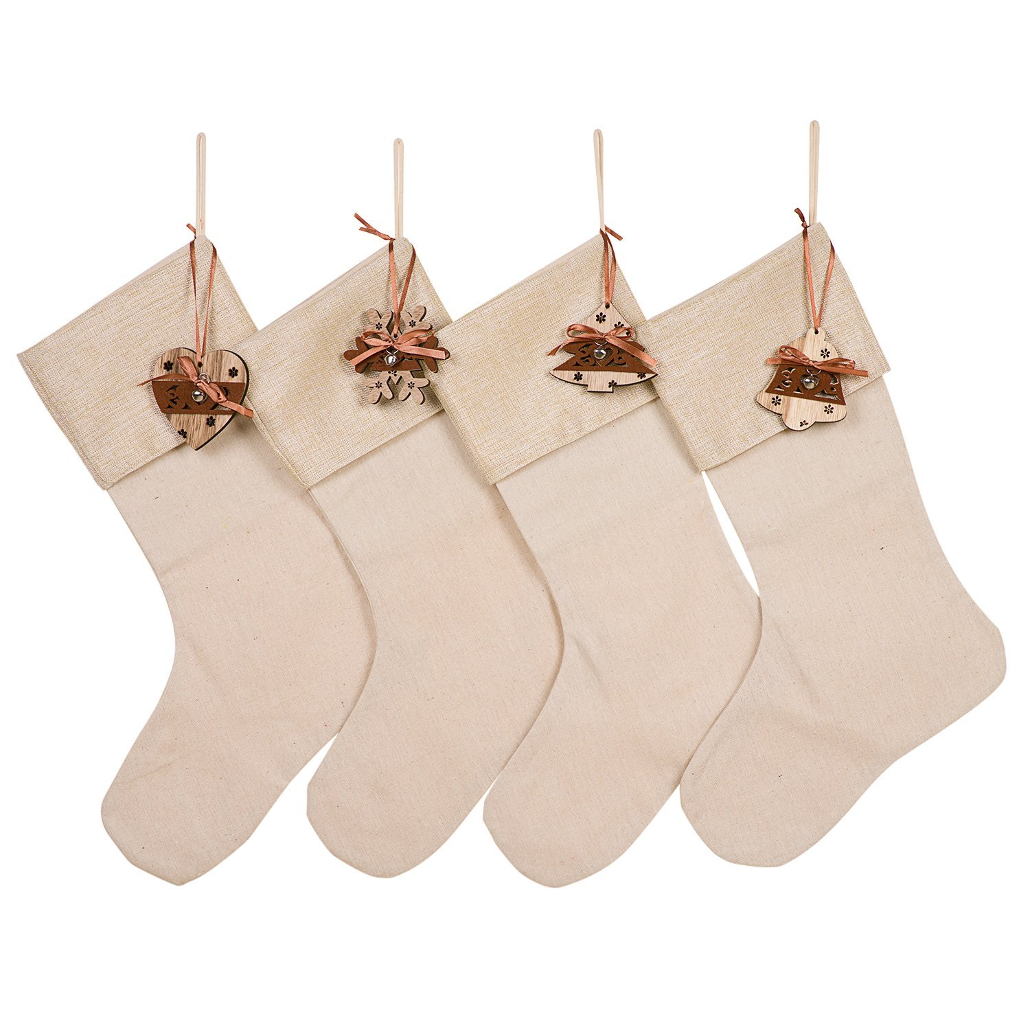 Huan Xun Wood Heart Tree Snoflower Bell Christmas Stockings, Set of 4, Available in Multiple Designs