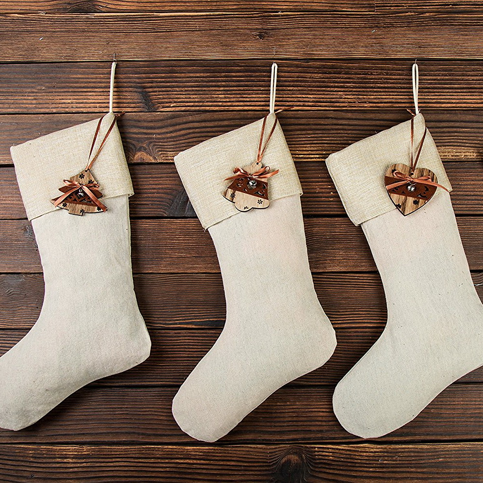 Huan Xun Holiday Christmas Burlap Stockings with Decorations