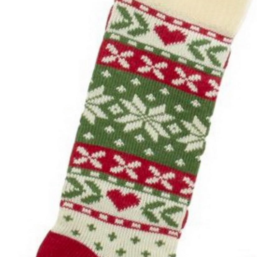 Kurt Adler Red, White And Green Christmas Tree And Snowflake Knit Stockings