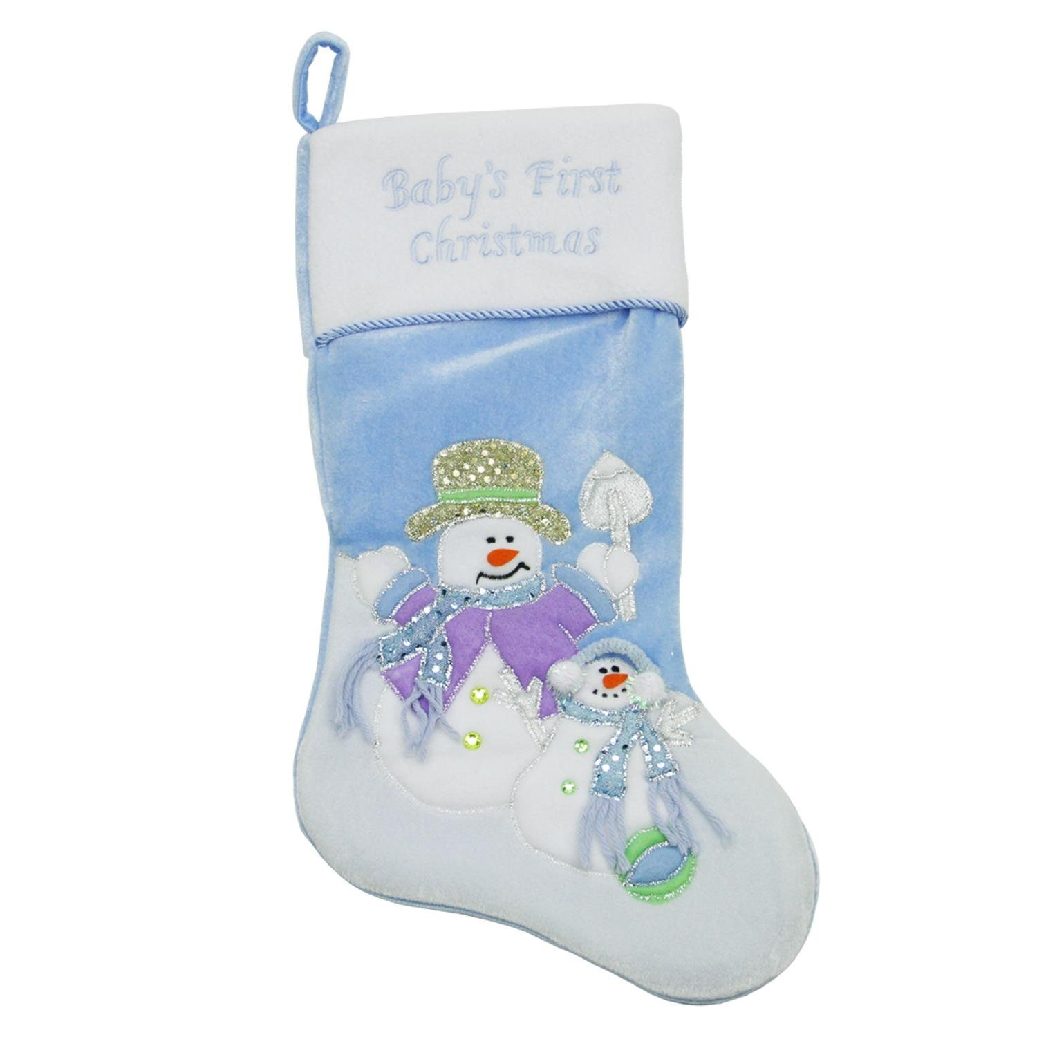 Northlight Baby's First Christmas Velveteen Snowman Christmas Stocking