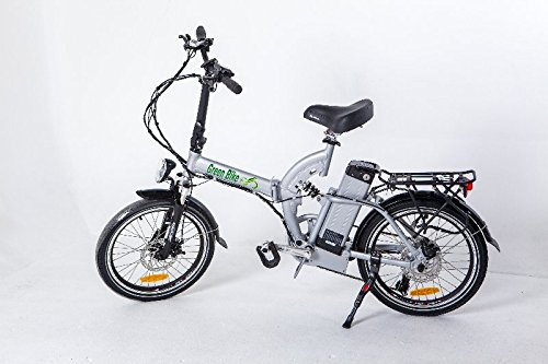 GreenBike USA Electric Motor Power Folding Bicycle with Lithium Battery and Full Suspension