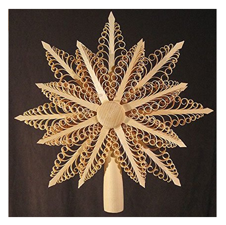 Dregano Shaved Star Tree Topper Ornament -  Hand Made in Germany, Wood Christmas Tree Topper or Easter Decor