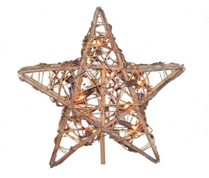 Kurt Adler Rattan Natural Star Treetopper