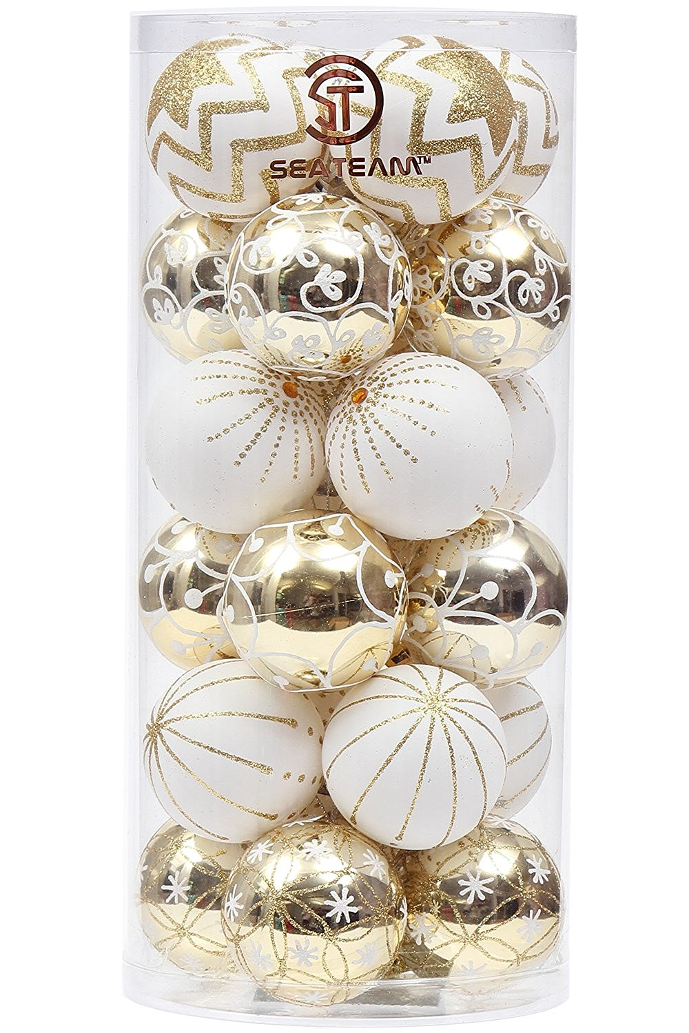 Sea Team Delicate Contrast Color Hanging Baubles Christmas Ball Ornaments Set – 30 Pieces, Available in Six Color Combinations