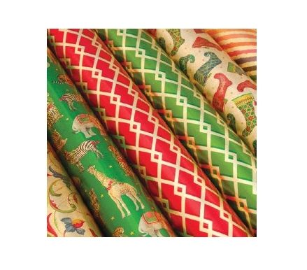 Caspari Wild Christmas Gold Foil Wrap Roll