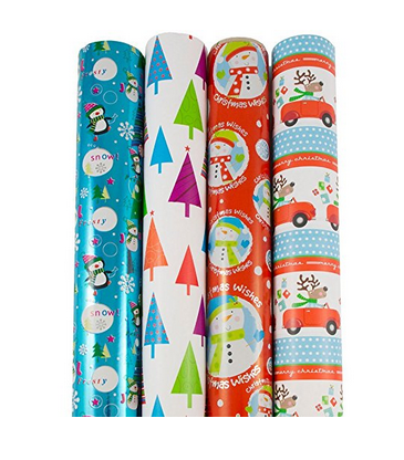 Jam Christmas Wrapping Paper Four Pack