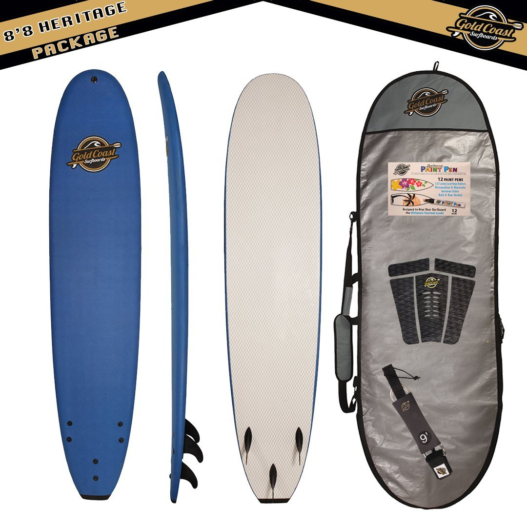 Gold Coast Surfboards 8'8 Heritage High Performance Soft Top Foam Surfboard, Entry Level – Available in 3 Colors, Alone or With Package