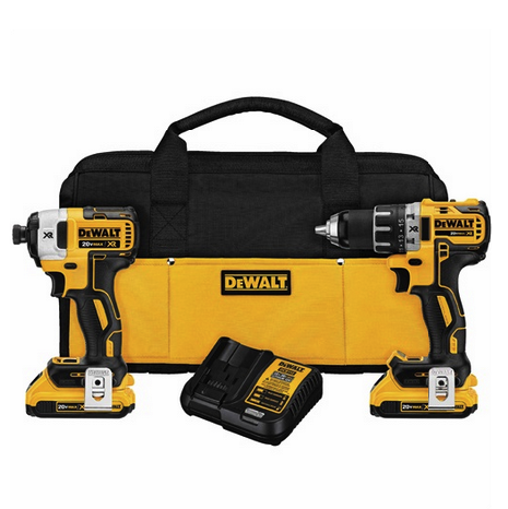 Dewalt 20V Max Compact Drill and Impact Combo – Available with Either Brushless or Brush Motor, Optional Bit Kits