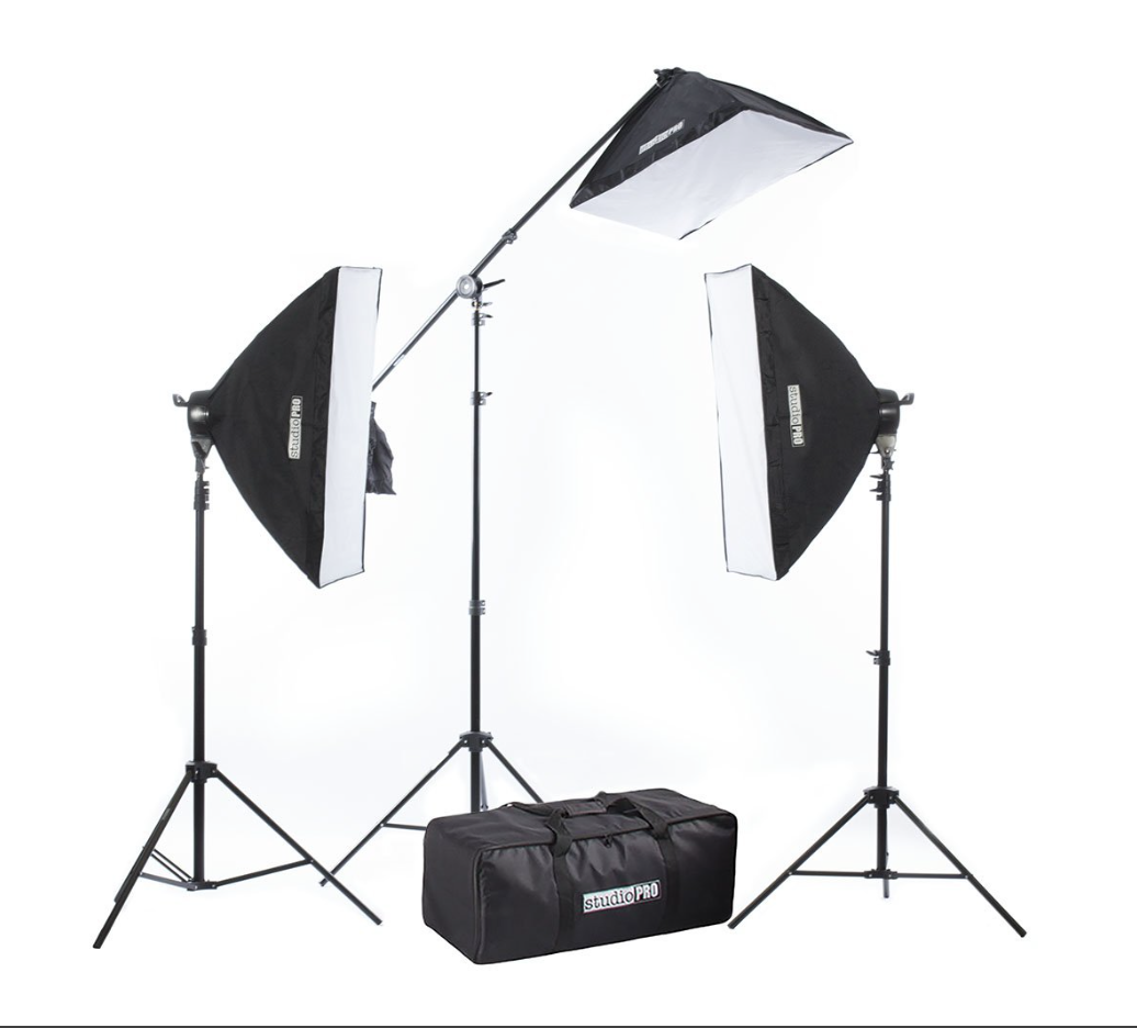 Fovitec StudioPRO 2500W Photography Softbox Lighting Kit – Two 1000W 5 Socket Head Softboxes w/Diffusers + One 500W Single Socket Head Light w/Boom & Softbox — Four Other Kit Sizes Available