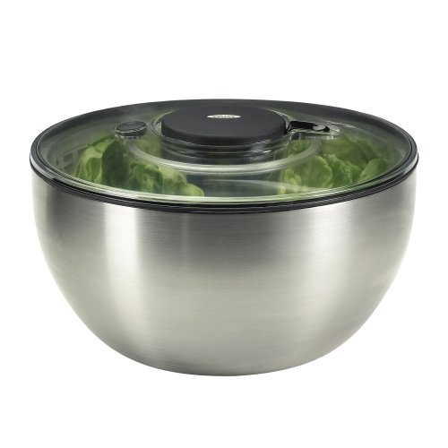 OXO Stainless Steel Salad Spinner with Brake Button, Pump Mechanism and See-Through Lid